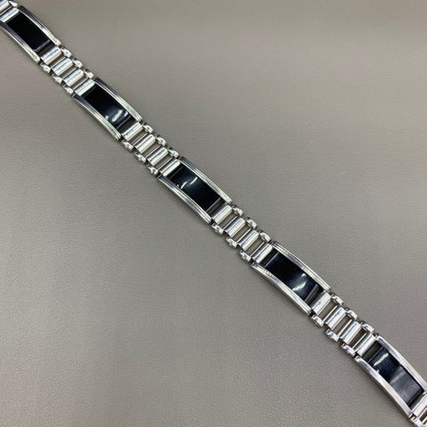 Mens 10kt White Gold Onyx Bracelet