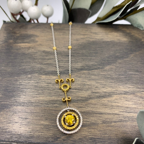 18kt Yellow Sapphire & Diamond Necklace