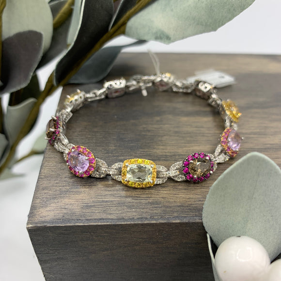 18kt Multi-coloured Gemstone & Diamond Bracelet