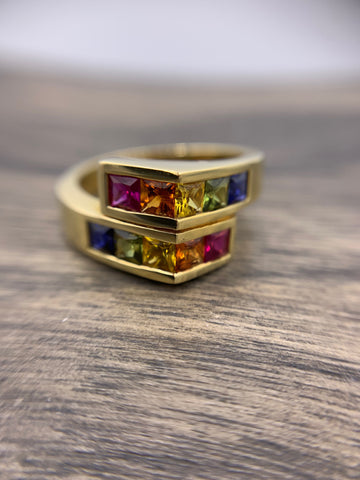18kt Yellow Gold Rainbow Sapphire Ring