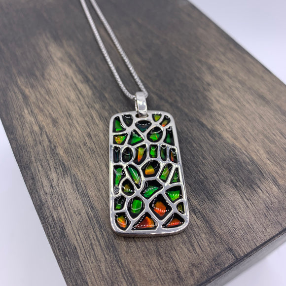 Sterling Silver Oval Elements Pendant by Korite Ammolite