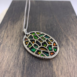Amaris Sterling Silver Oval Elements Pendant by Korite Ammolite