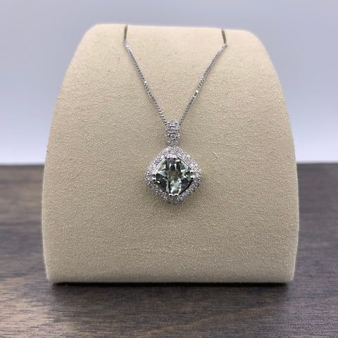 14kt White Gold Green Amethyst & Diamond Necklace