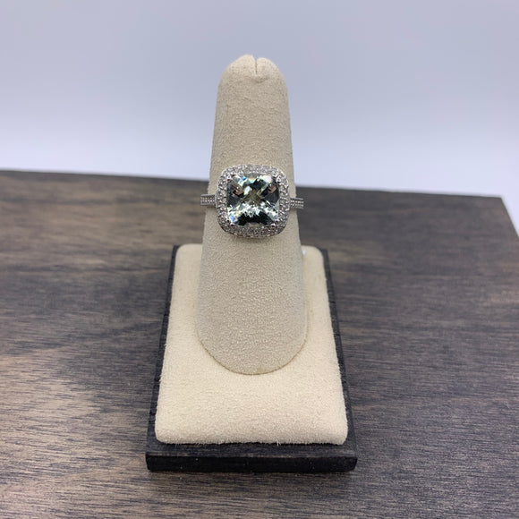 14kt White Gold Green Amethyst & Diamond Ring