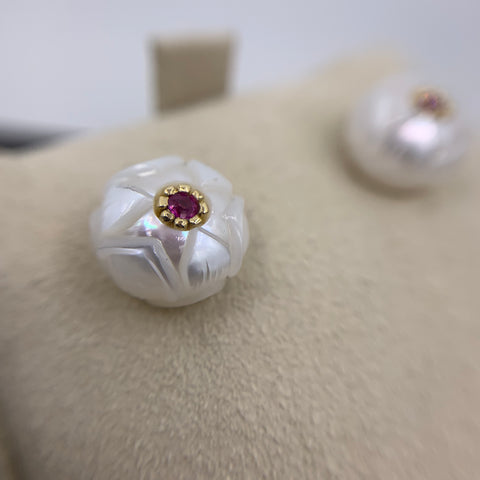"Galatea ""Lotus"" Ruby & Pearl Earrings"