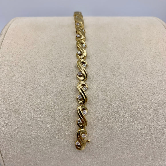 1.00ct Yellow Gold Diamond Infinity Tennis Bracelet