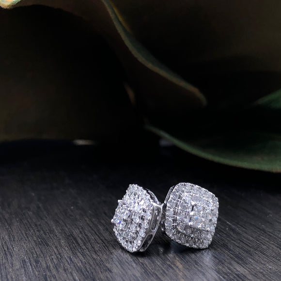 1.00ct Diamond Halo Stud Earrings