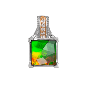 Raye Sterling Silver Topaz Faceted Square Pendant by Korite Ammolite