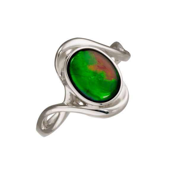 Oval 925 Sterling Silver Raylene Ring by Korite Ammolite