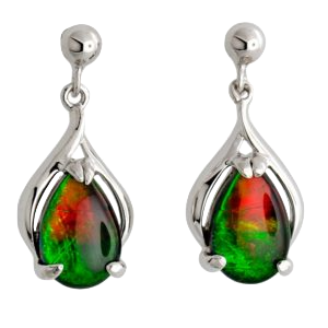 Sterling Silver Teardrop Nina Earrings by Korite Ammolite