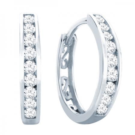 10kt White Gold .75ct tw Diamond Huggie Earrings