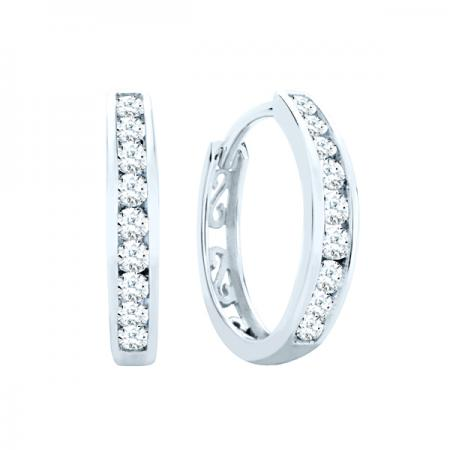 10kt White Gold .25ct tw Diamond Huggie Earrings