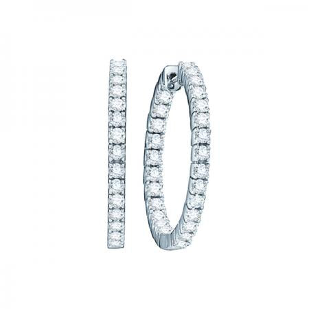 14kt White Gold 1.00ct tw Diamond Huggie Earrings