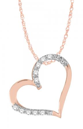 10K ROSE GOLD DIAMOND HEART NECKLACE