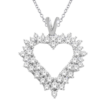 10K 1.00ct tw DIAMOND HEART NECKLACE