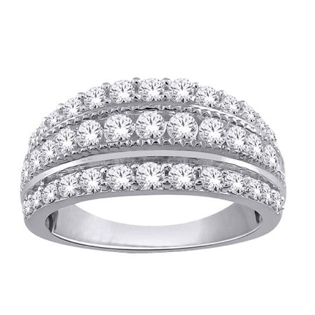 1.00ct White Gold Diamond 3 Row Band