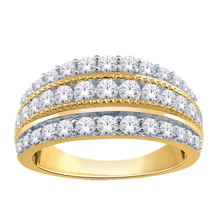 1.00ct Yellow Gold Diamond 3 Row Band