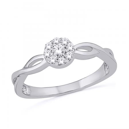 Promise Rings - White Gold Halo Ring
