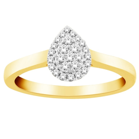 Promise Rings - Yellow Gold Diamond Teardrop ring
