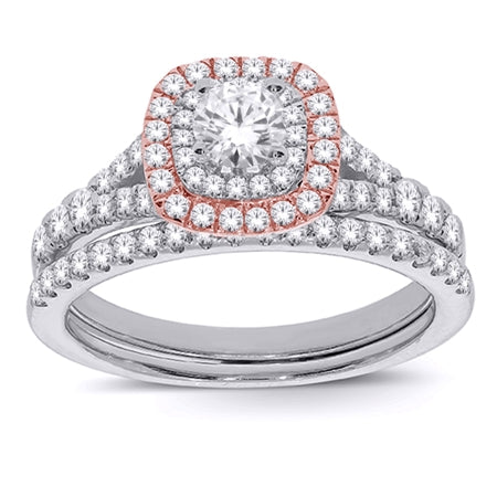 Tany's Bridal - White & Rose Halo Diamond Engagement Set