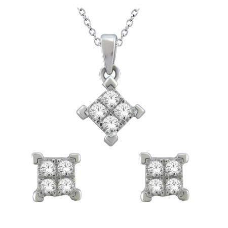 10K 0.25CT DIAMOND EARRING & PENDANT SET