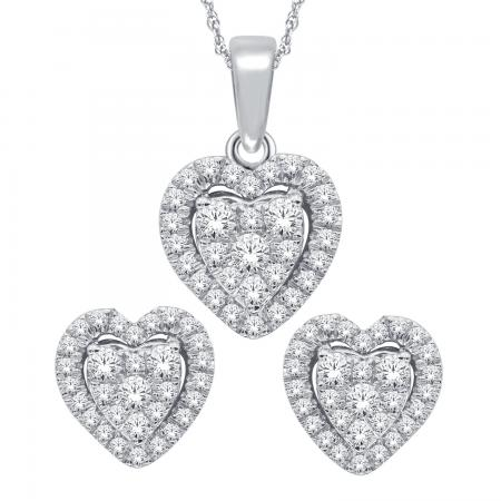 10K 0.33CT DIAMOND EARRING & PENDANT SET