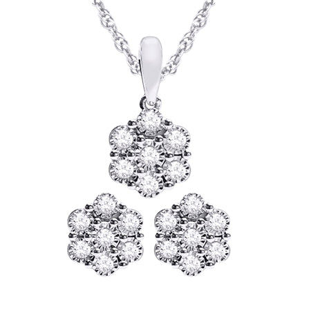 10K 0.20CT DIAMOND EARRING & PENDANT SET