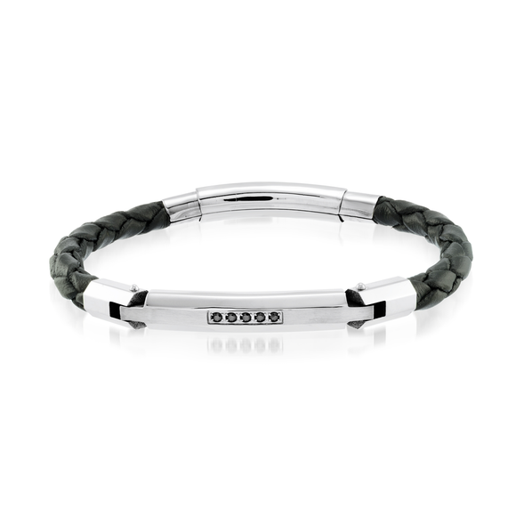 ITALGEM CIRCON LEATHER BRACELET