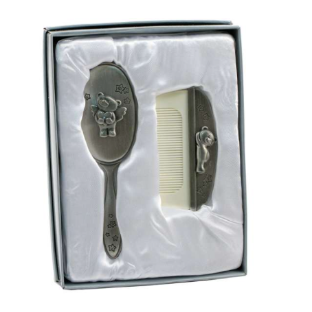 Pewter Baby Brush and Comb Set - Teddy Bear Angel