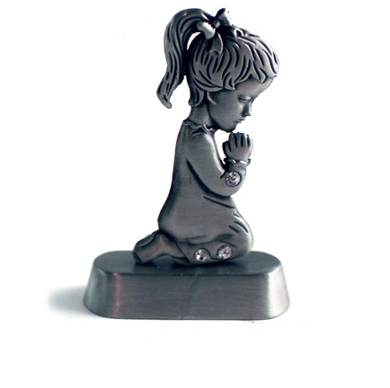 Pewter Praying Hands Girl Baptism - ENGRAVABLE