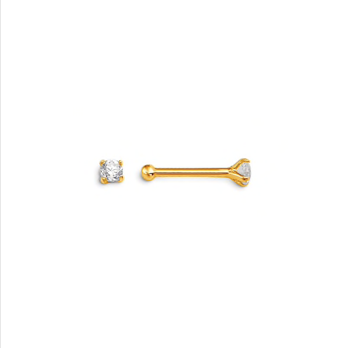 14kt Yellow Gold Claw CZ Nose Stud