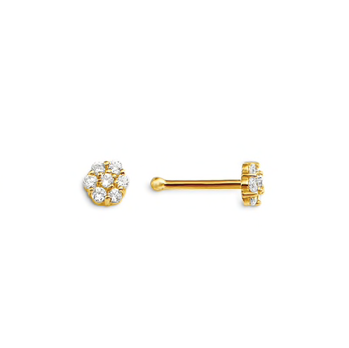 14kt Yellow Gold CZ Cluster Nose Stud