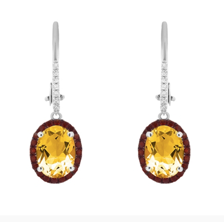 10kt White Gold Citrine & Diamond Dangle Earrings