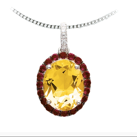 10kt White Gold Citrine & Diamond Necklace