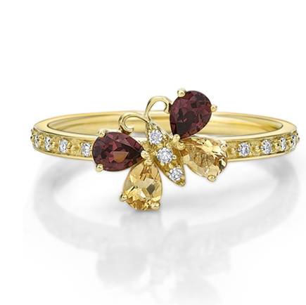 10kt Yellow Gold Citrine & Rhodolite Ring