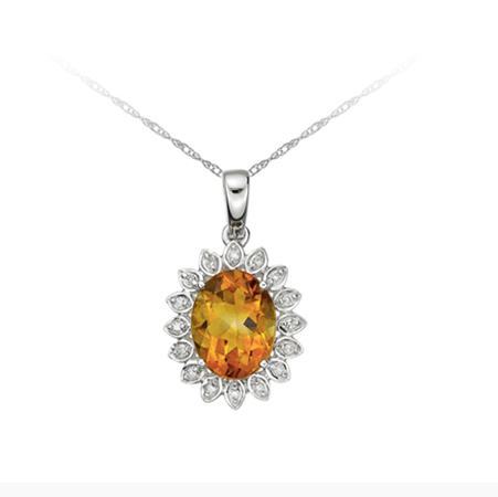 10kt White Gold Mandarin Citrine & Diamond Necklace
