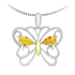 10kt White Gold Citrine Butterfly Necklace