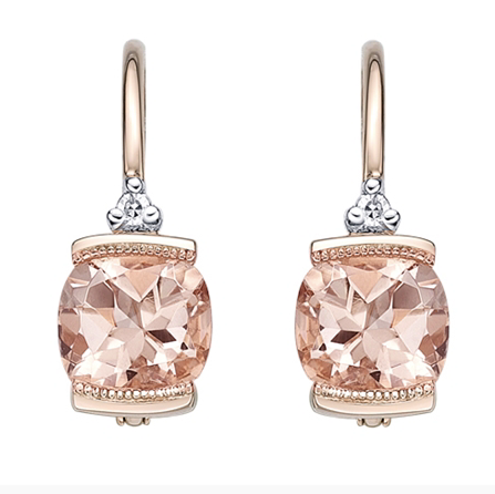 10kt Rose Gold Morganite & Diamond Earrings