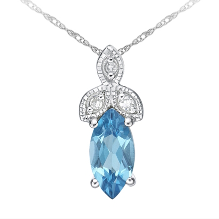 10kt White Gold Blue Topaz & Diamond Necklace