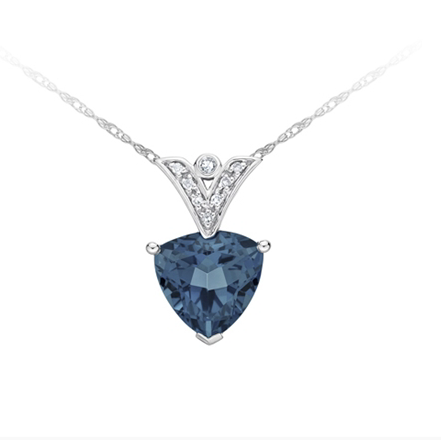 10kt White Gold London Blue Topaz & Diamond Necklace