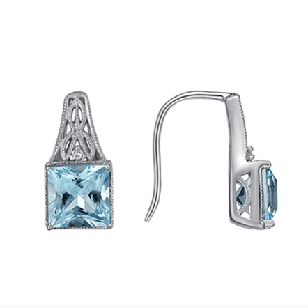 10kt White Gold Blue Topaz & Diamond Earrings