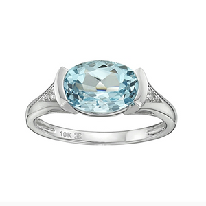 10kt White Gold Blue Topaz & Diamond Ring