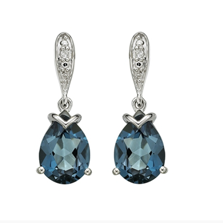 10kt White Gold London Blue Topaz & Diamond Earrings