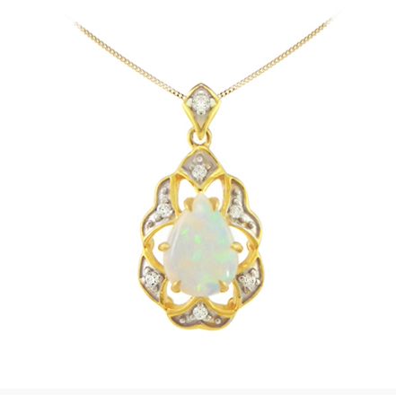 10kt Yellow Gold Opal & Diamond Necklace