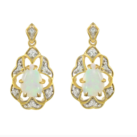 10kt Yellow Gold Opal & Diamond Earrings