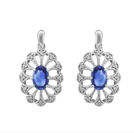 10kt White Gold Sapphire & Diamond Earrings