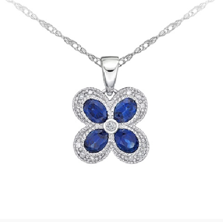 10kt White Gold Sapphire & Diamond Necklace