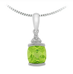 10kt White Gold Peridot & Diamond Necklace