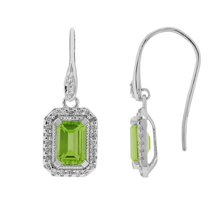 10kt White Gold Peridot & Diamond Earrings