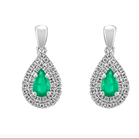 10kt White Gold Emerald & Diamond Earrings